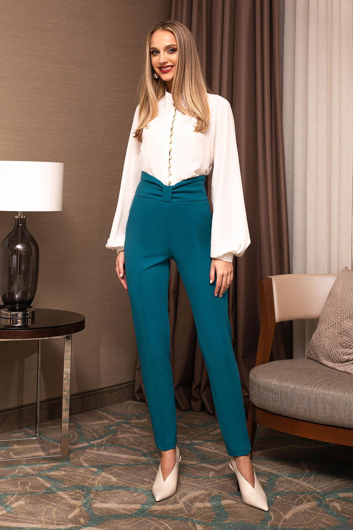 Pantaloni PrettyGirl turcoaz office din stofa conici cu talie inalta accesorizat cu o fundita imagine