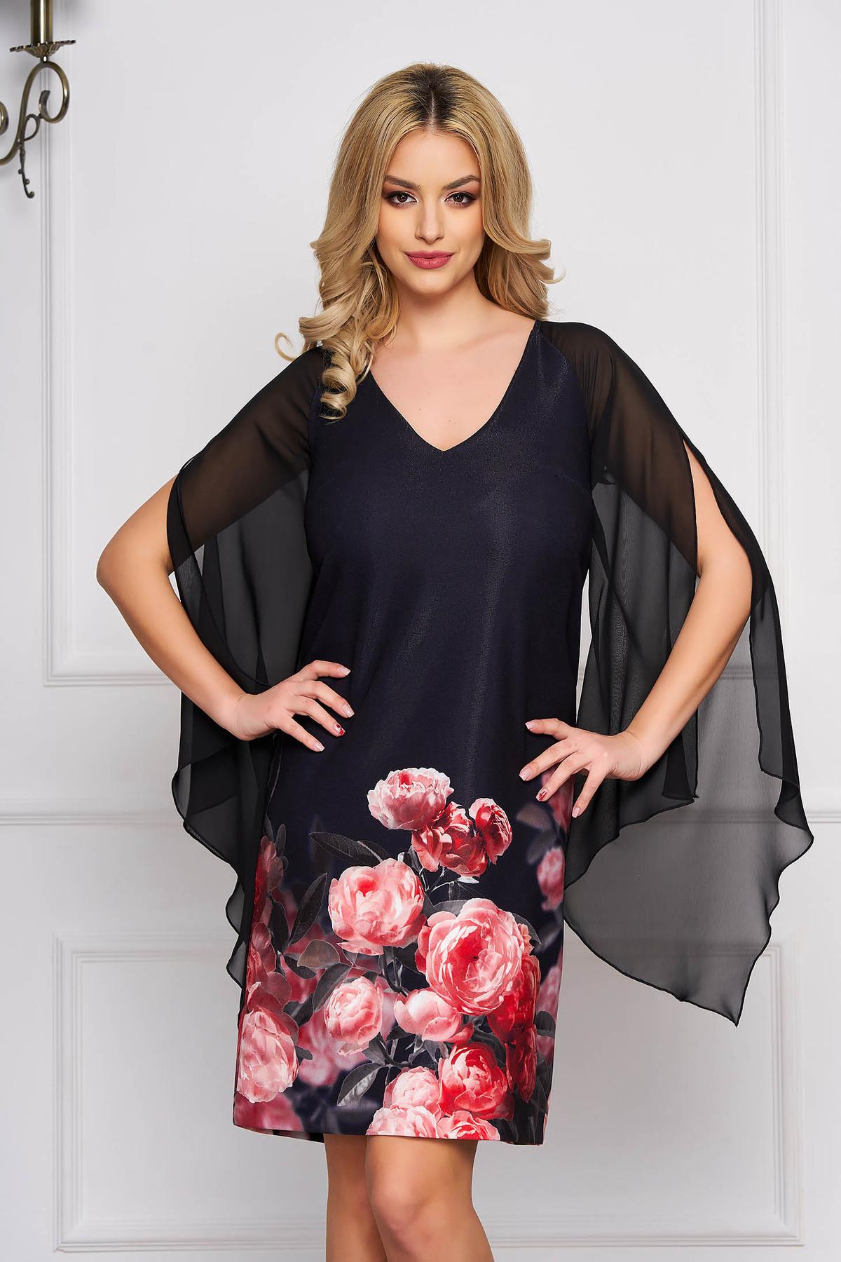 Rochie StarShinerS neagra de ocazie scurta cu croi in a cu maneci din voal si imprimeuri florale