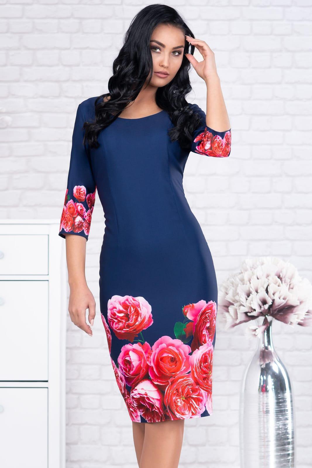 Rochie albastru-inchis office midi tip creion din stofa cu maneci trei-sferturi si imprimeuri florale