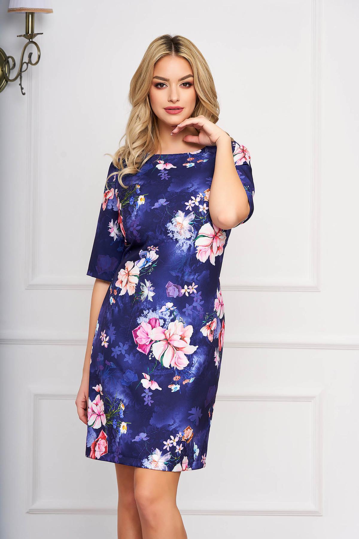 Rochie albastru-inchis eleganta scurta din stofa cu un croi drept si imprimeuri florale StarShinerS