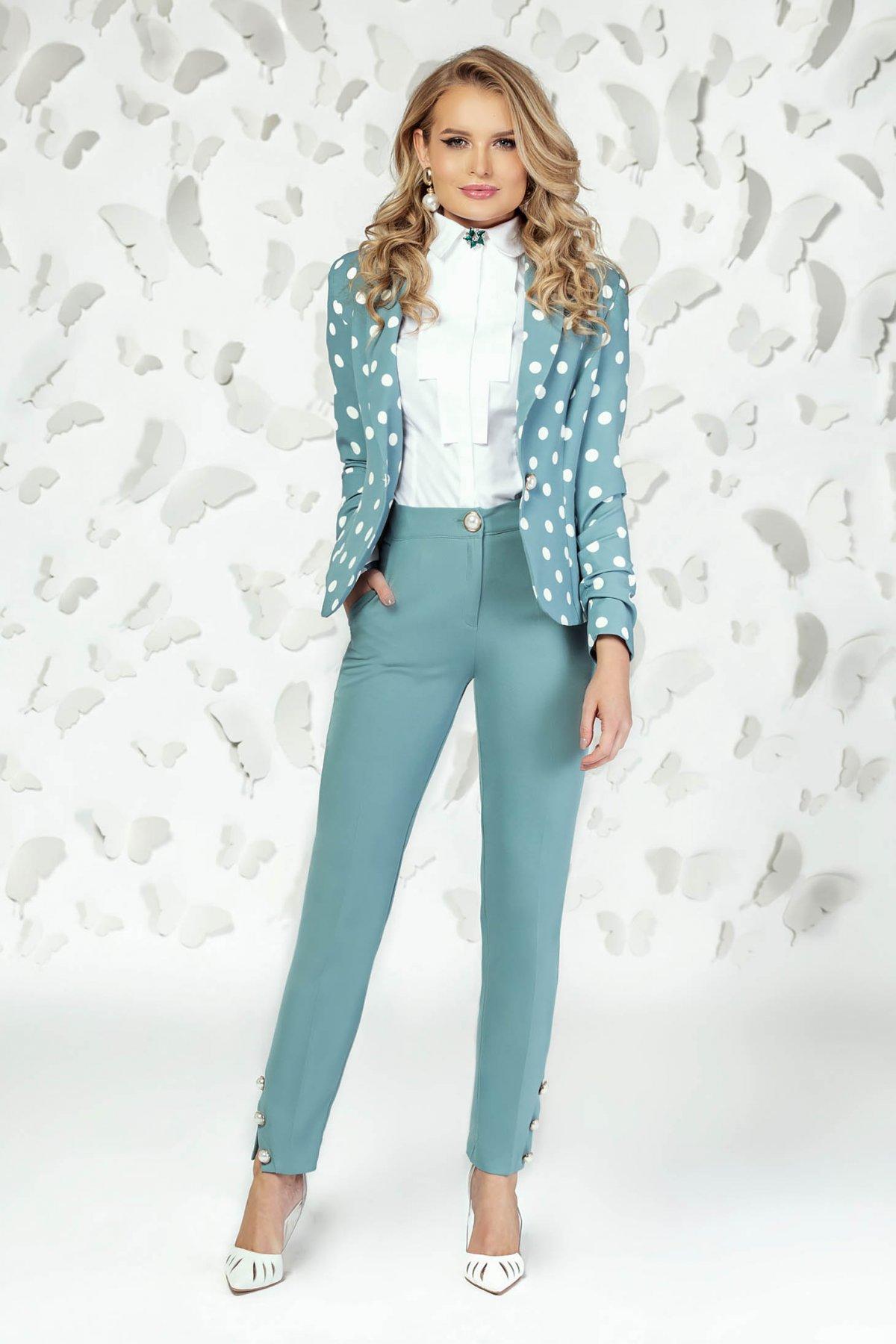 Pantaloni PrettyGirl turcoaz eleganti cu un croi drept cu talie medie cu buzunare imagine