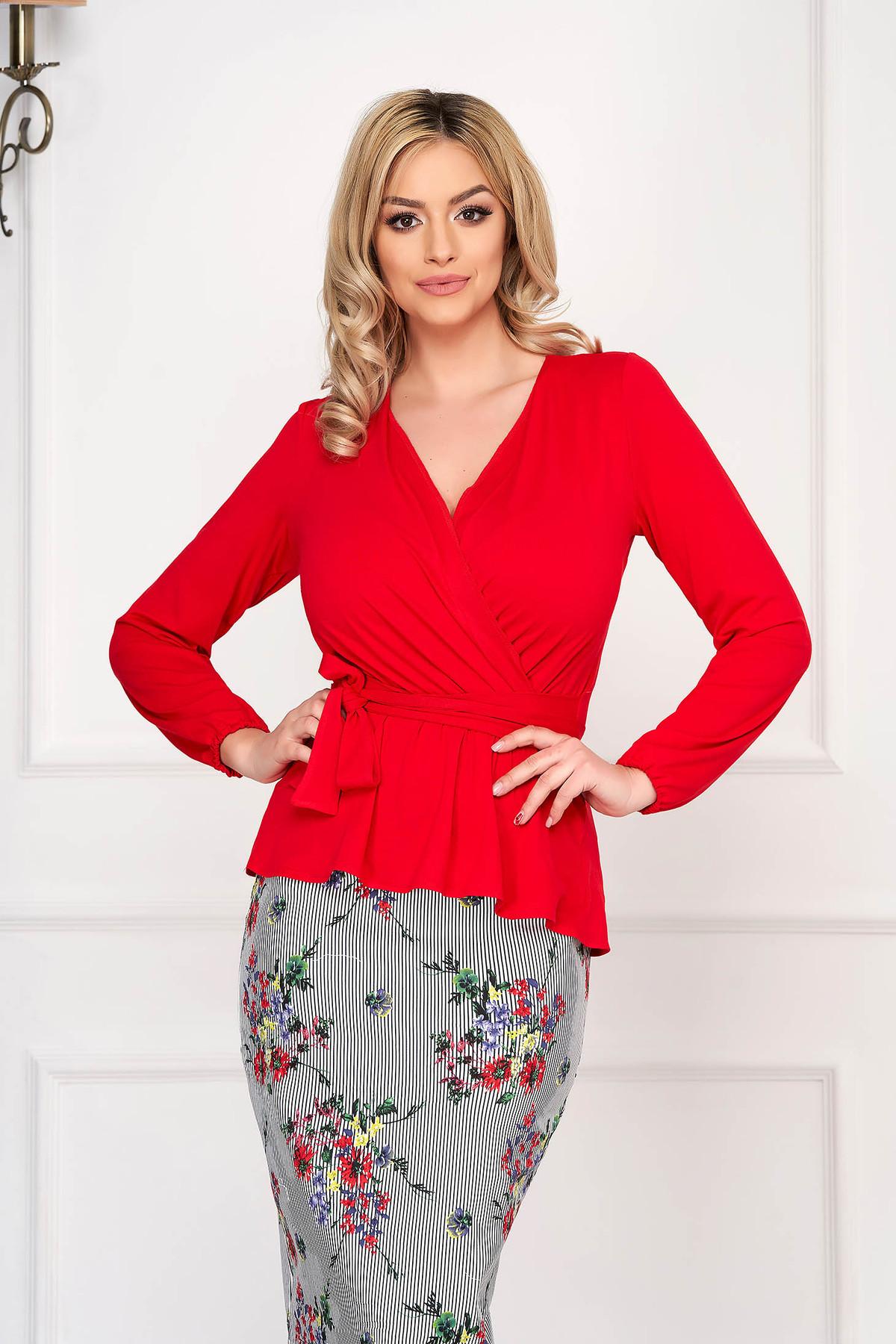 Bluza dama StarShinerS rosie eleganta scurta din jersey cu maneci lungi