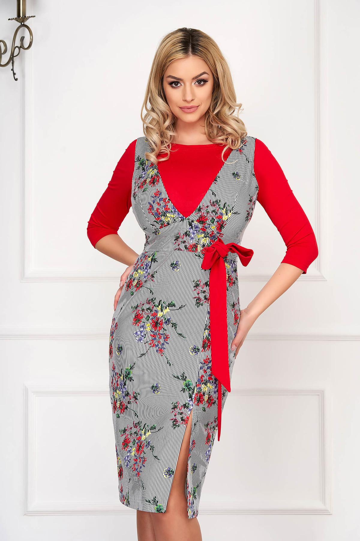 Set StarShinerS rosu elegant din bumbac cu imprimeu floral si accesorizat cu snur