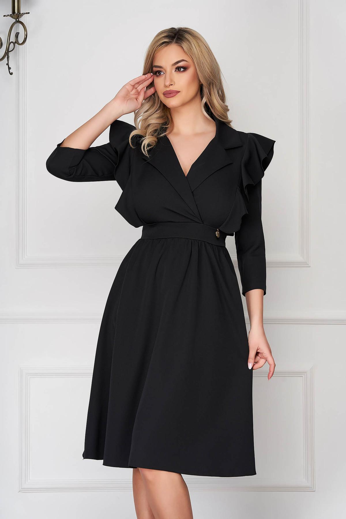 Rochie neagra eleganta midi in clos din stofa subtire cu volanase la maneca