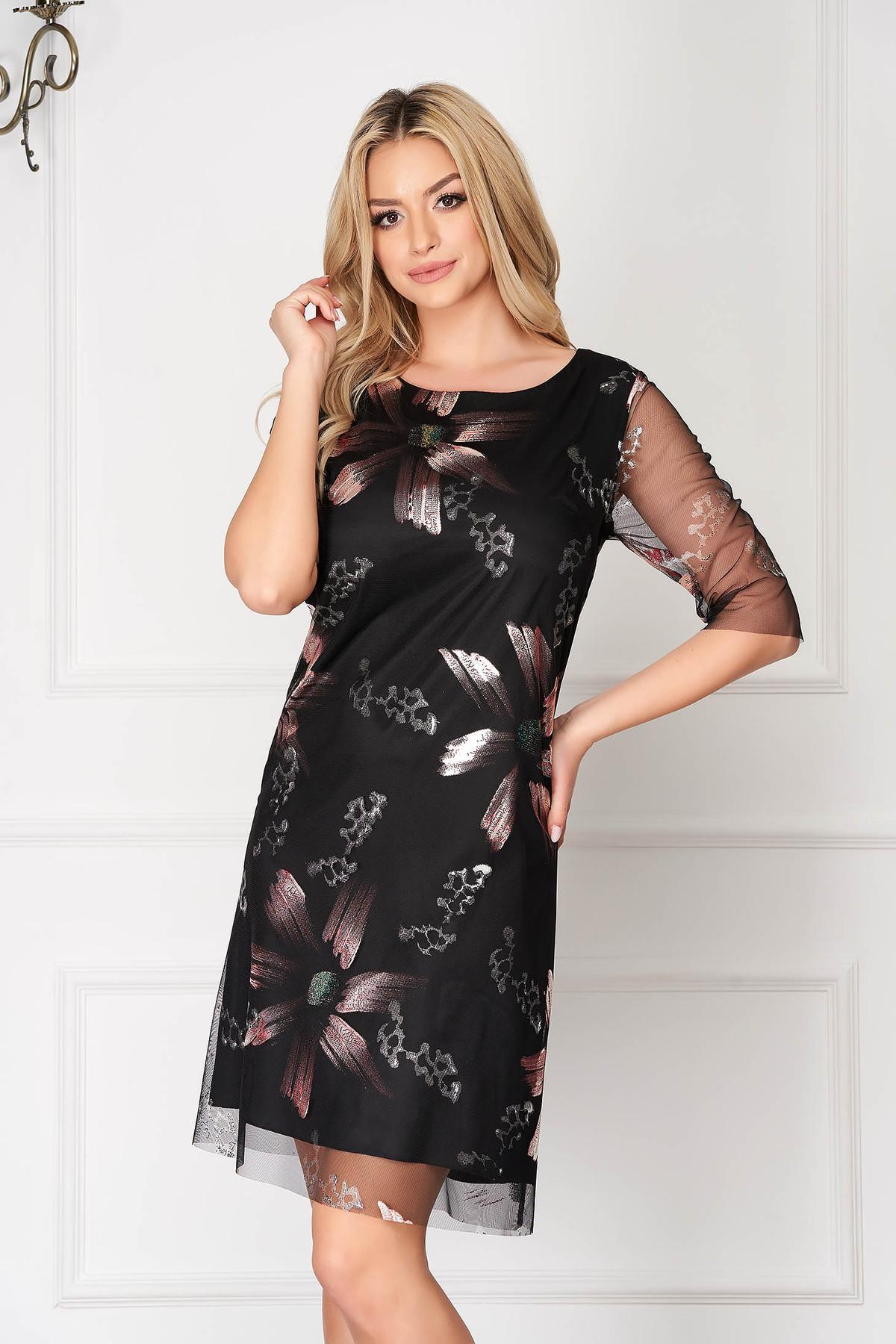 Rochie neagra eleganta scurta din voal cu un croi drept si imprimeuri florale