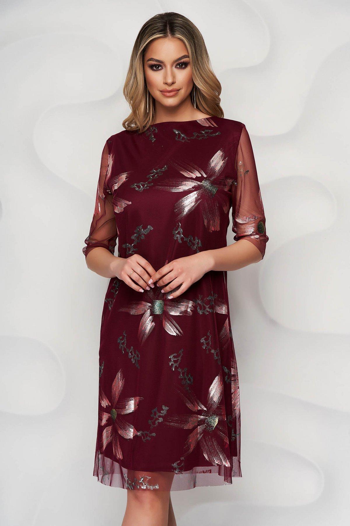 Rochie visinie eleganta scurta din voal cu un croi drept si imprimeuri florale - medelin.ro
