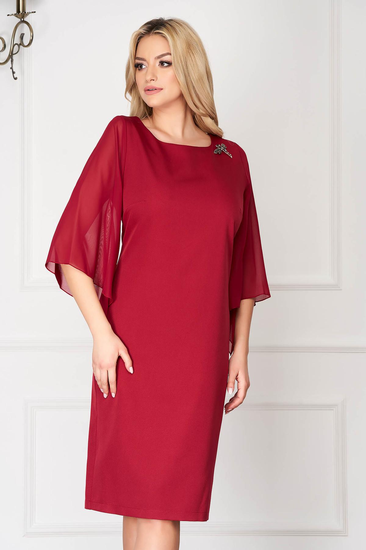 Rochie visinie eleganta midi din stofa cu croi drept si maneci din voal imagine