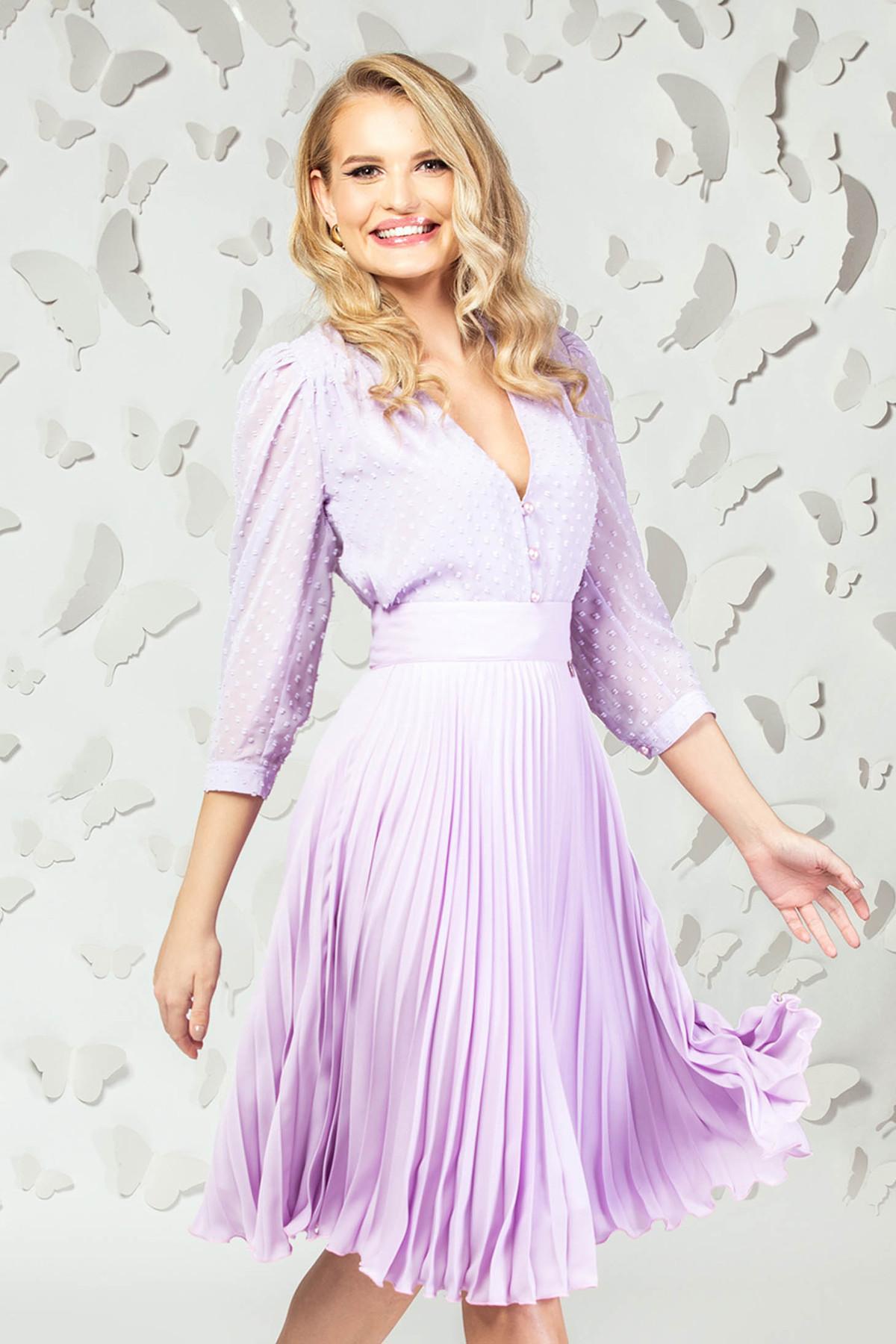 Bluza dama PrettyGirl lila eleganta scurta din voal cu aplicatii din plumeti imagine