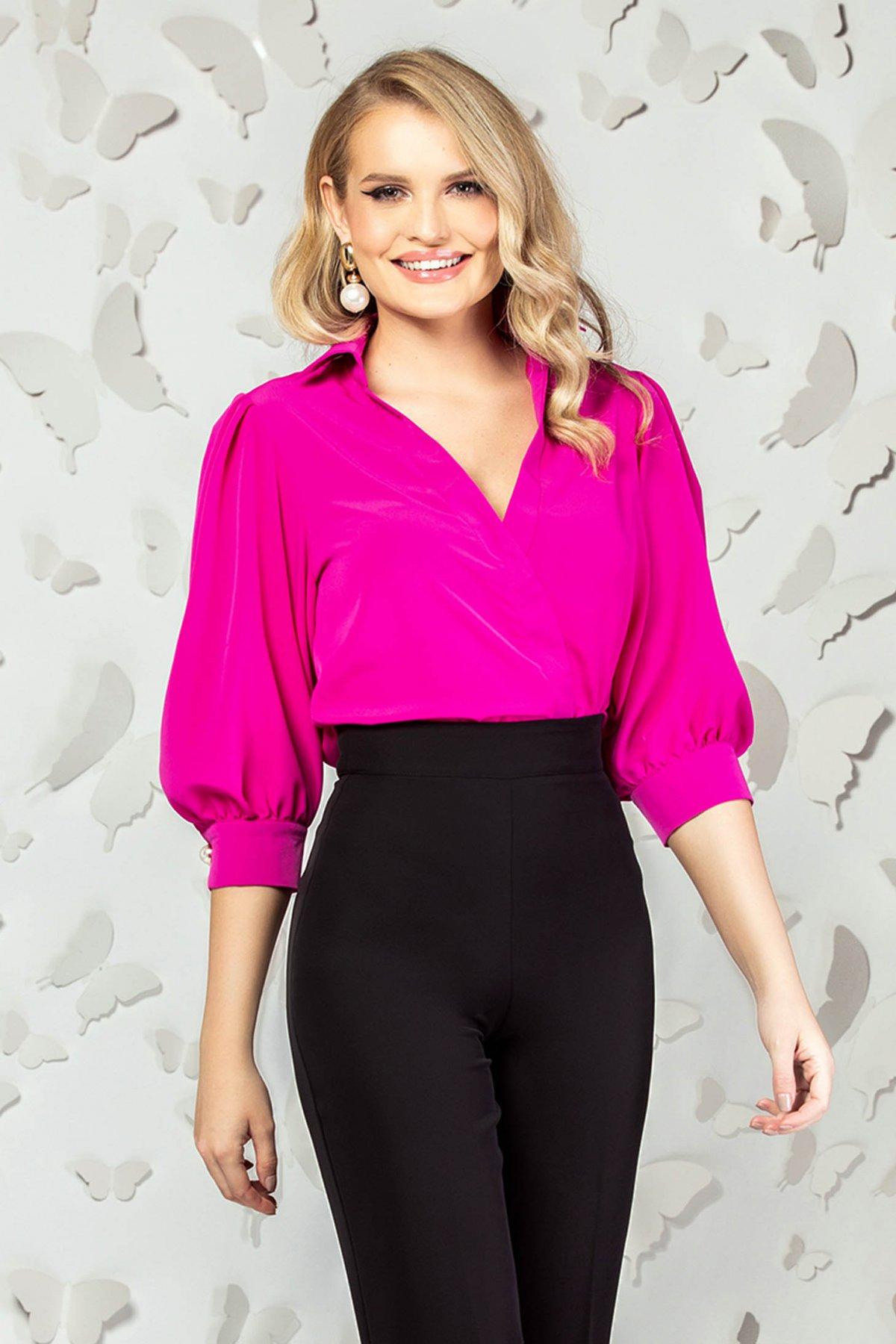 Body PrettyGirl roz elegant cu croi larg cu decolteu in v si maneci trei-sferturi imagine