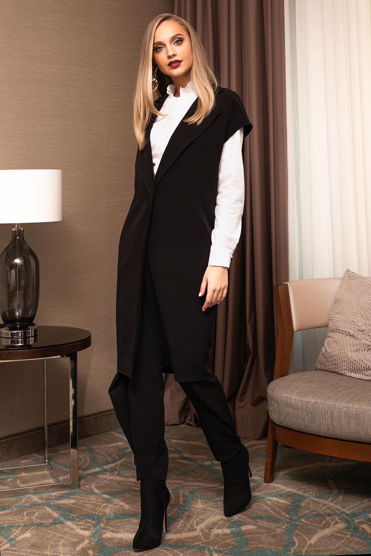 Vesta PrettyGirl negru elegant cu buzunare si inchidere cu un nasture