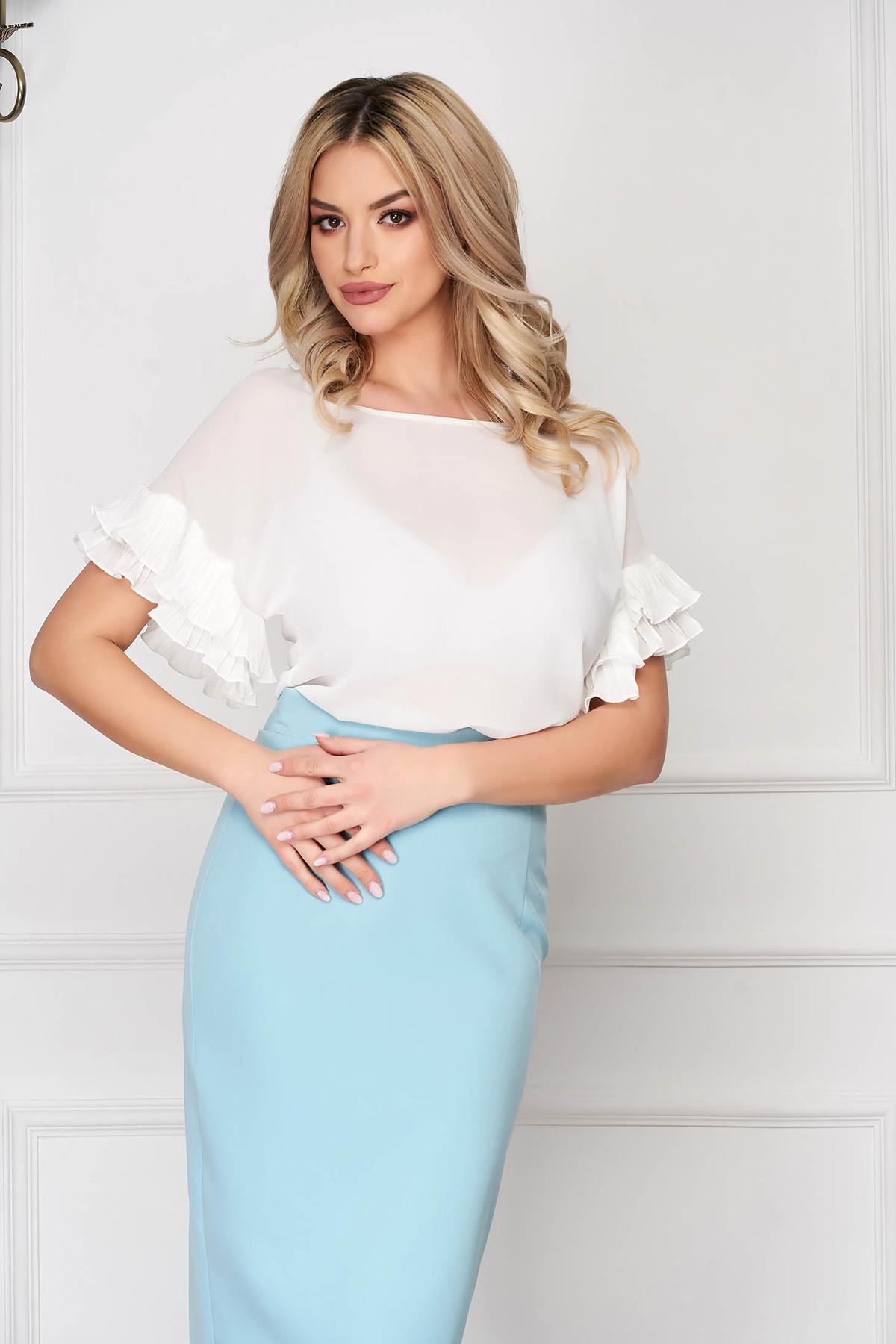 Bluza dama StarShinerS alba office din material subtire cu croi si maneci largi