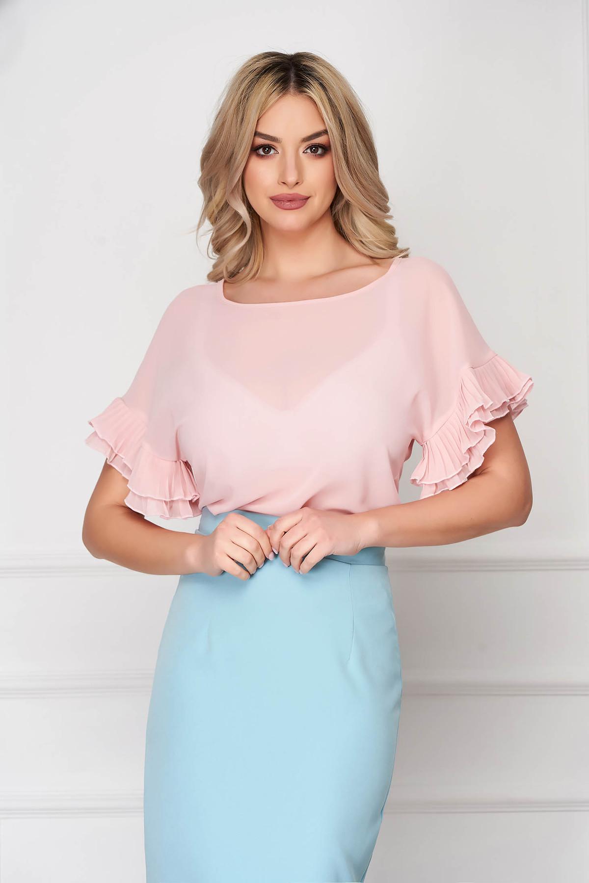 Bluza dama StarShinerS roz prafuit office din material subtire cu croi si maneci largi