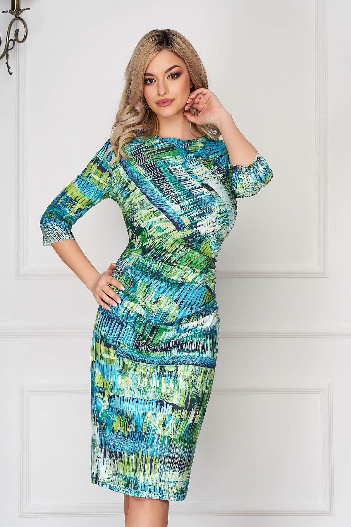 Rochie StarShinerS verde office midi tip creion cu maneci lungi si pliuri in talie StarShinerS