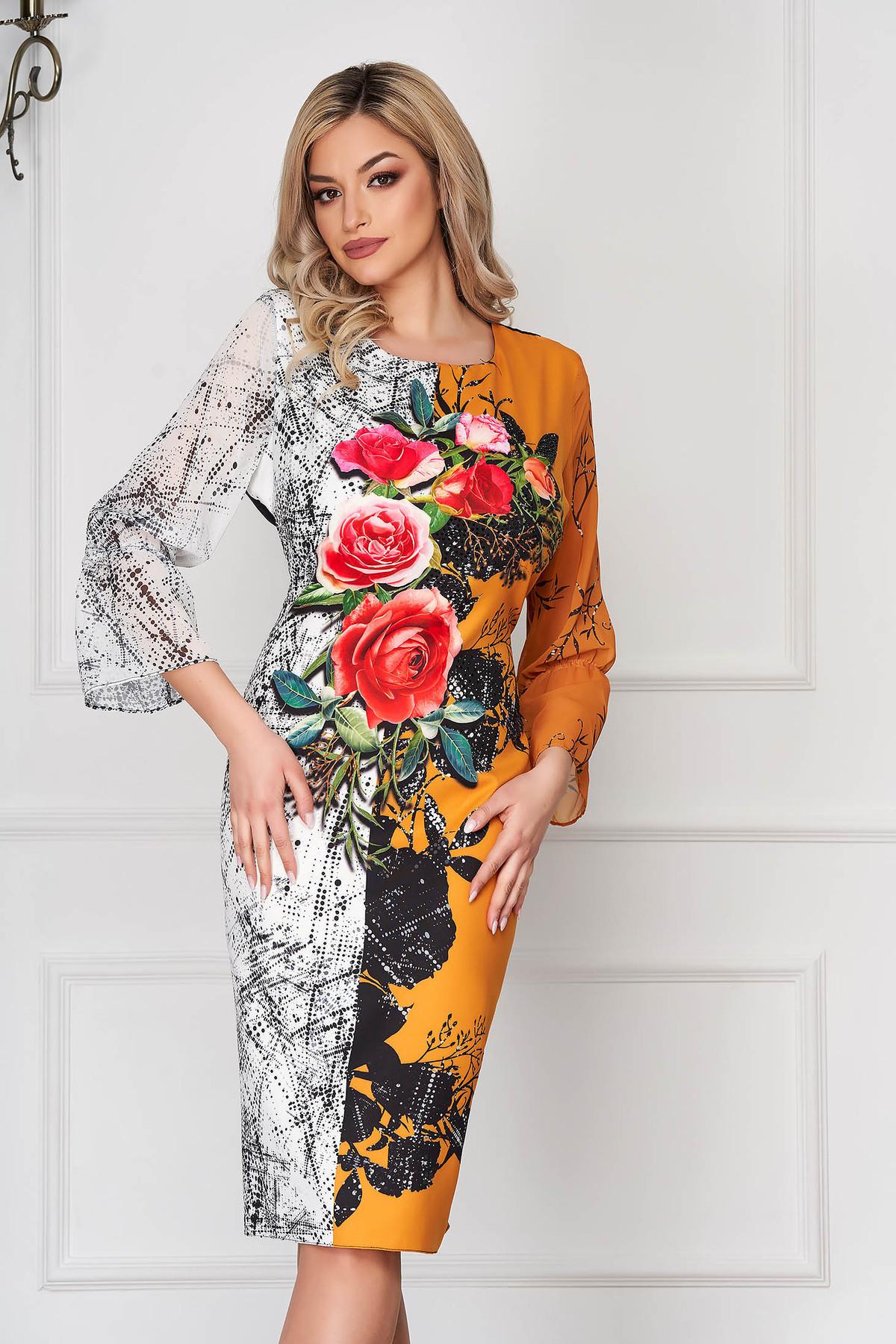 Rochie mustarie eleganta midi tip creion din stofa material subtire cu imprimeu floral