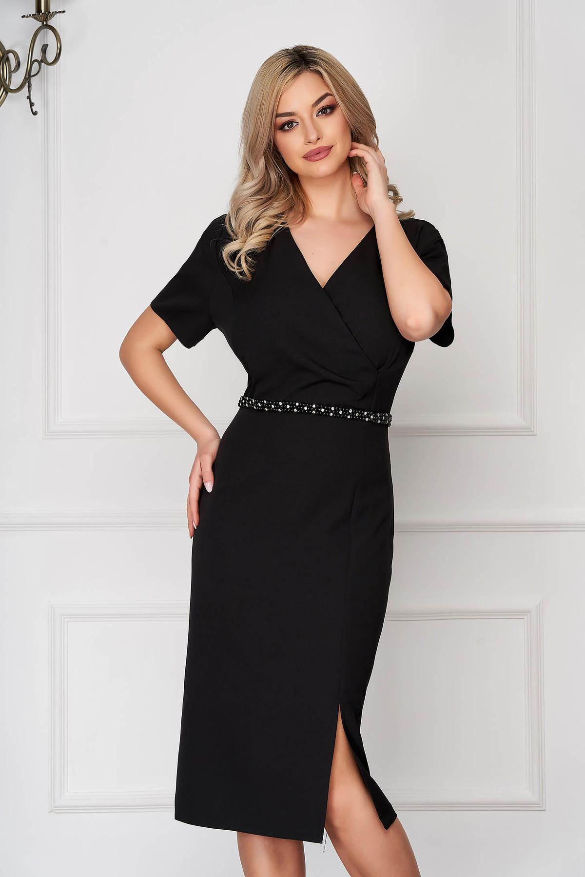 Rochie neagra eleganta midi tip creion din stofa subtire cu maneci scurte