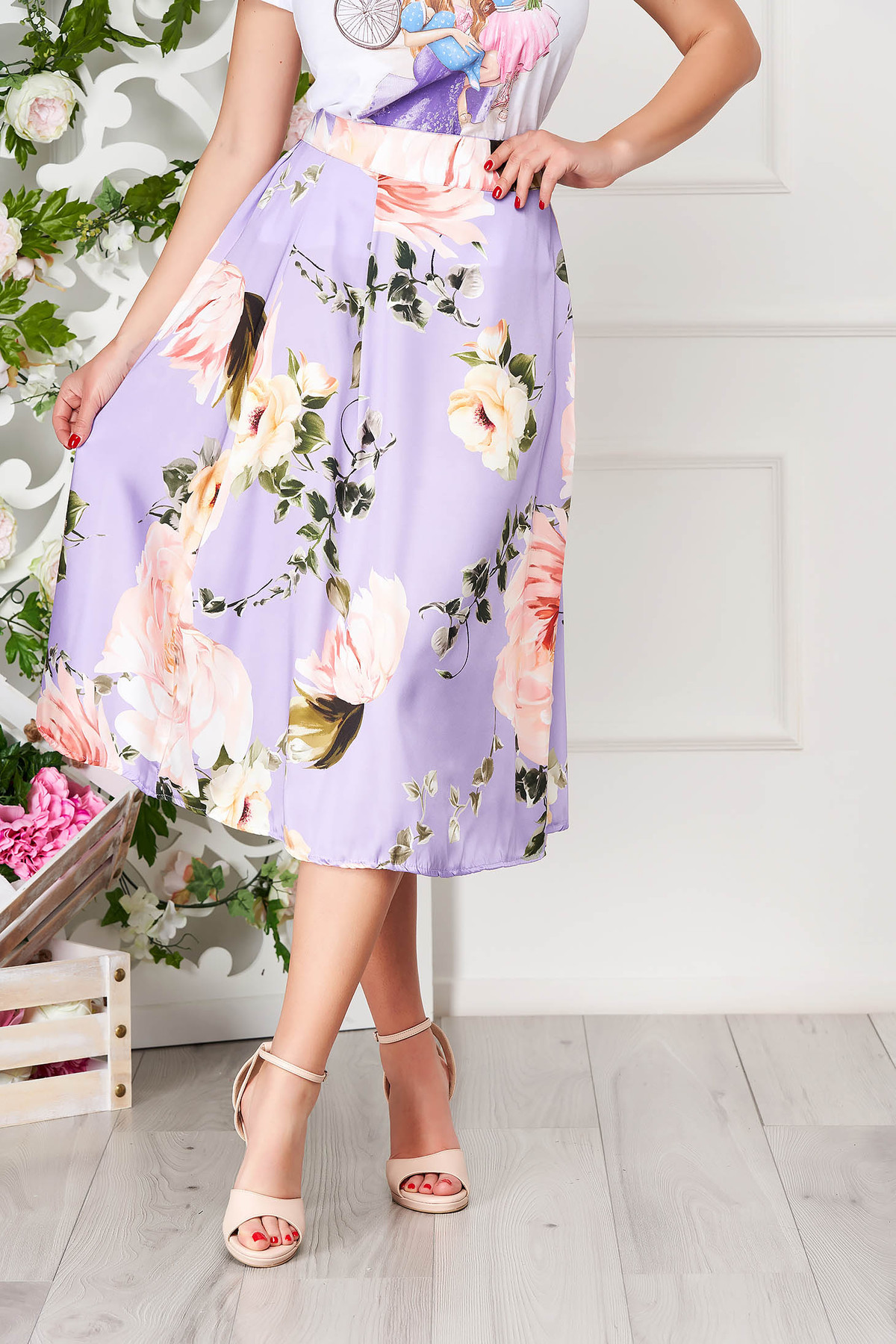 Fusta SunShine mov eleganta midi in clos cu imprimeu floral