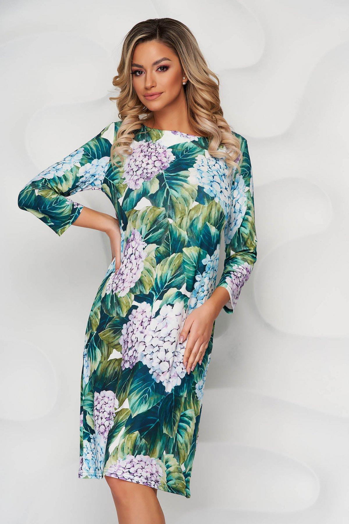 Rochie verde eleganta midi de zi tip creion cu maneci trei-sferturi si imprimeu floral - medelin.ro