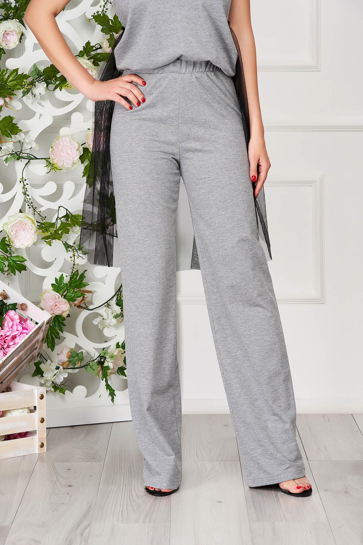 Pantaloni training StarShinerS gri casual din bumbac evazati cu elastic in talie imagine