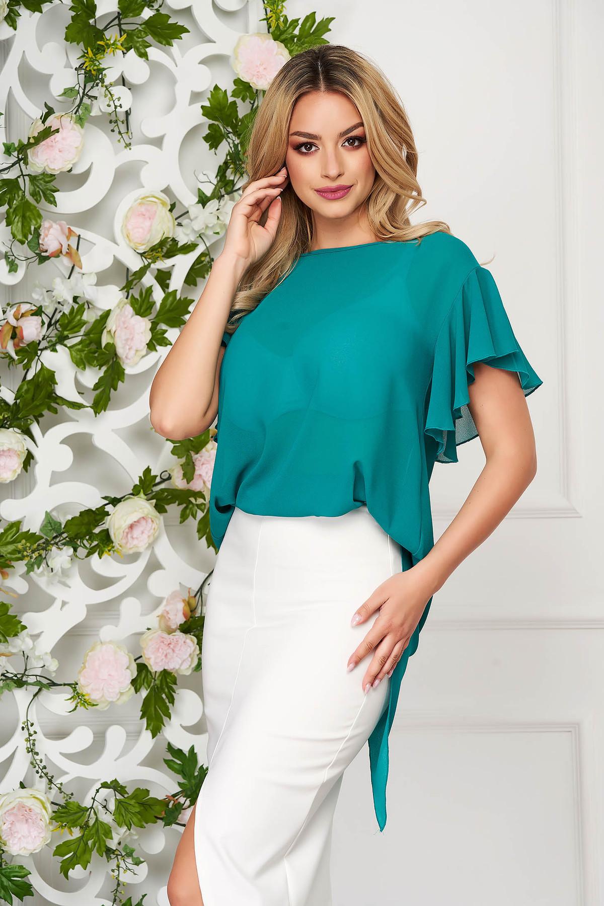 Bluza dama StarShinerS verde eleganta din voal cu croi larg cu maneca scurta si volanase