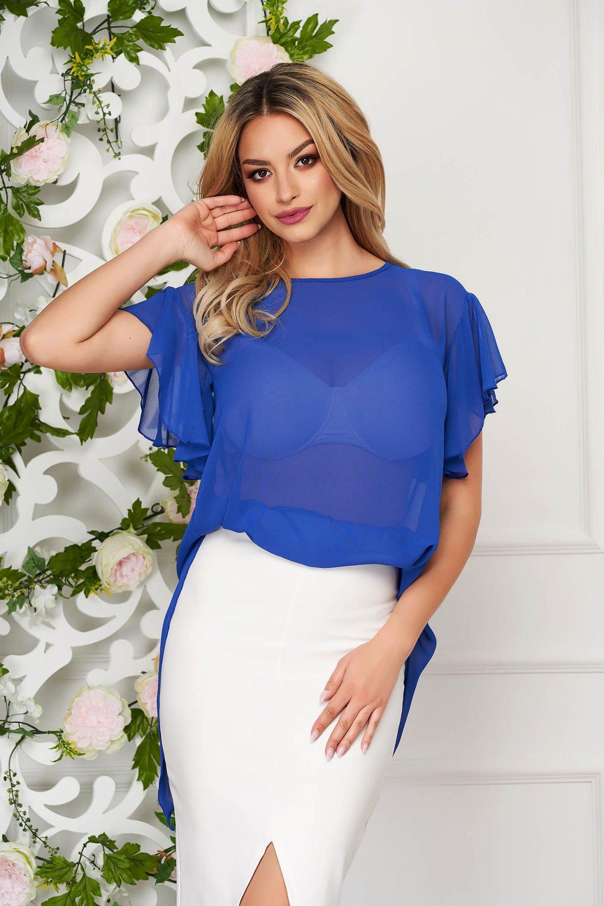 Bluza dama StarShinerS albastra eleganta din voal cu croi larg cu maneca scurta si volanase