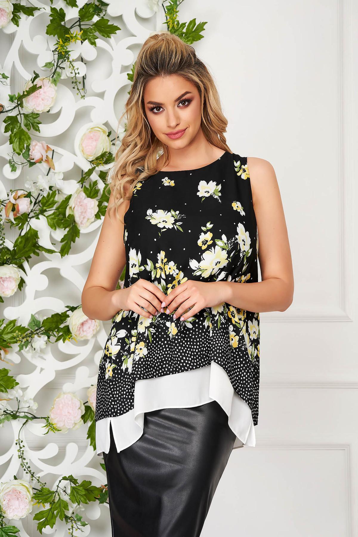 Top SunShine negru elegant din voal cu croi larg fara maneci cu imprimeu floral