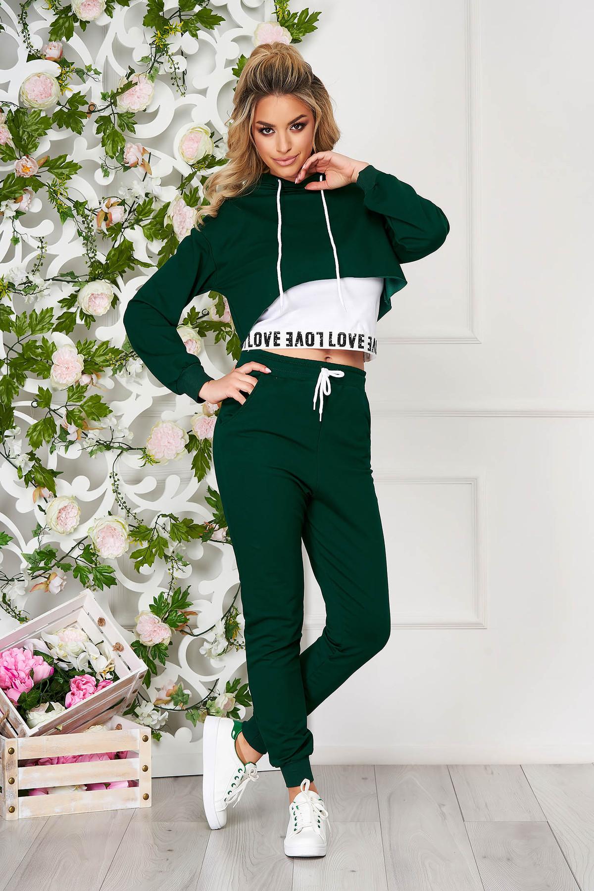 Trening dama SunShine verde sport din doua piese cu pantaloni cu talie inalta
