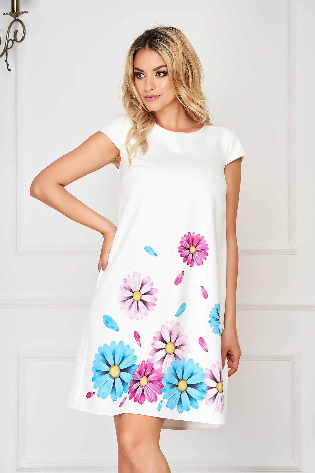 Rochie StarShinerS albastra-deschis eleganta scurta din stofa din material usor elastic cu imprimeu floral image0