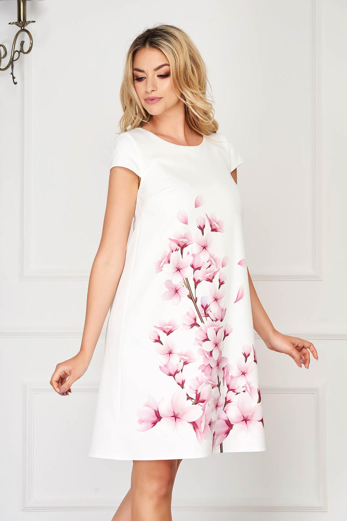 Rochie StarShinerS mov deschis eleganta scurta din stofa din material usor elastic cu imprimeu floral imagine