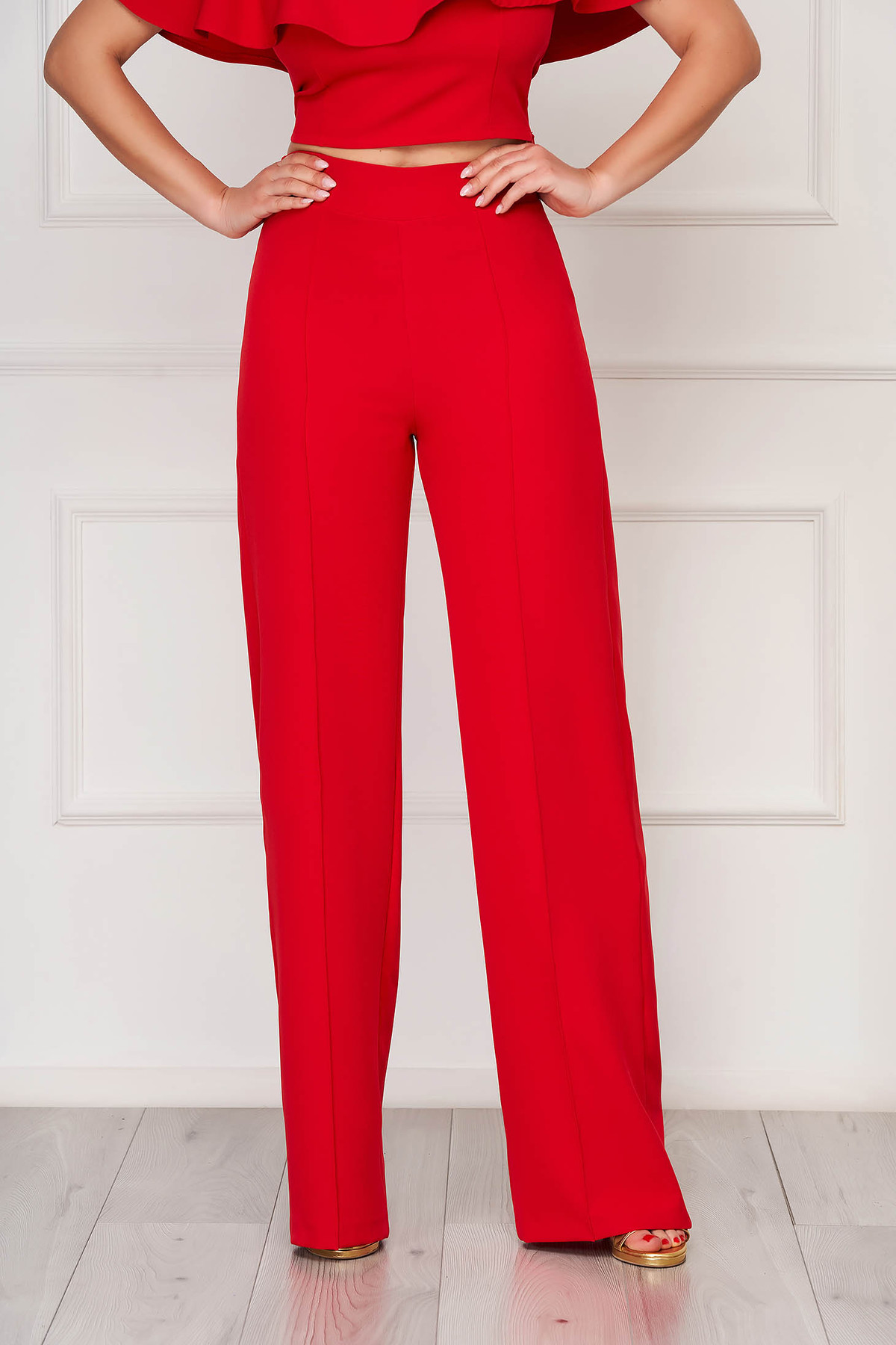 Pantaloni StarShinerS rosii eleganti lunga evazati din stofa din material elastic imagine