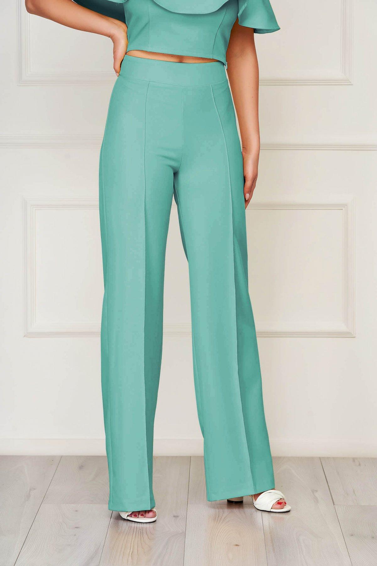 Pantaloni StarShinerS verzi eleganti lunga evazati din stofa din material elastic