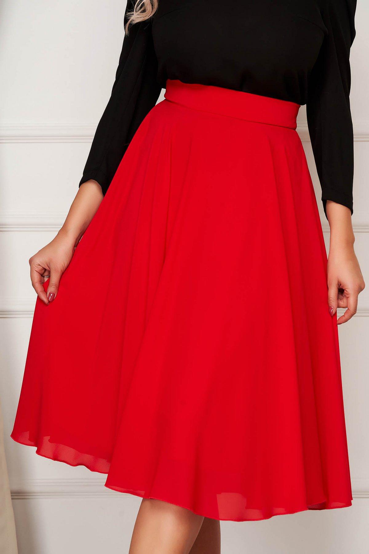Fusta StarShinerS rosie midi eleganta din voal in clos cu talie inalta
