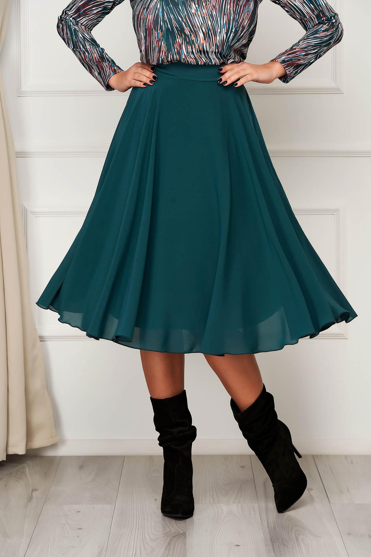 ai grijă la stiluri clasice nou stil Fuste Damă - Fusta StarShinerS verde eleganta midi din voal in clos cu  talie inalta | LoveStyle.ro