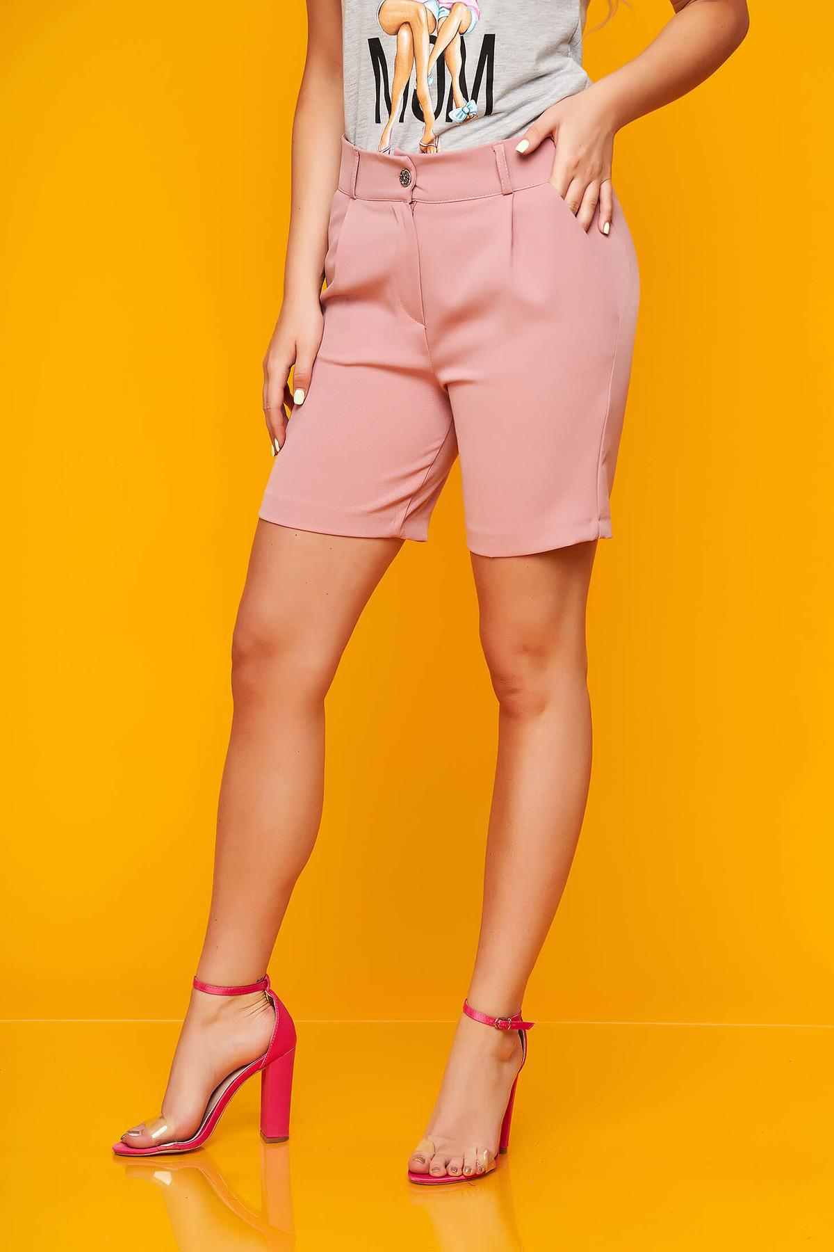 Pantalon scurt SunShine roz prafuit casual mulat din stofa elastica cu buzunare