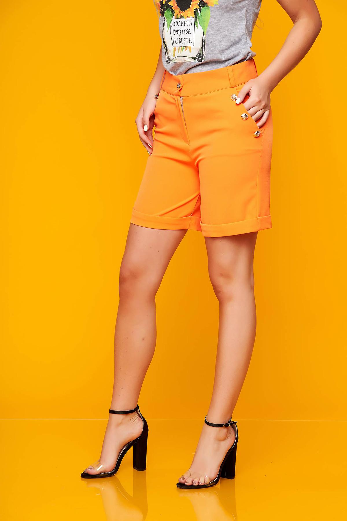 Pantalon scurt SunShine portocaliu casual mulat din stofa elastica cu buzunare