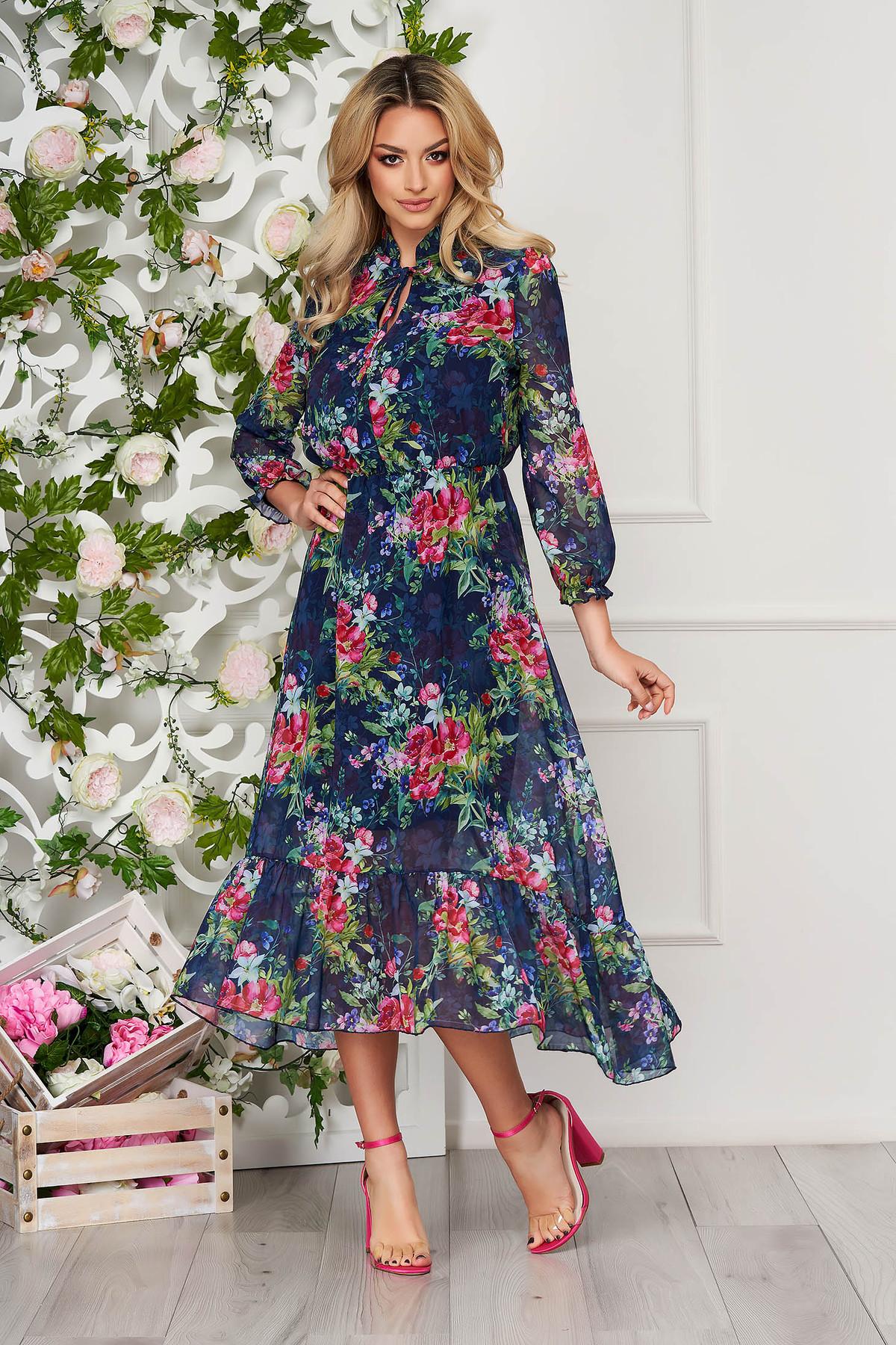 Rochie Albastru-inchis Eleganta Midi In Clos Din Voal Cu Imprimeu Floral
