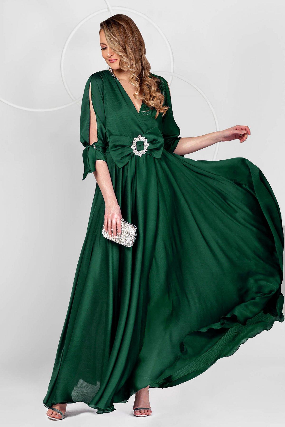 Rochie PrettyGirl verde petrol lunga de ocazie din voal usor satinat in clos cu maneci decupate - medelin.ro