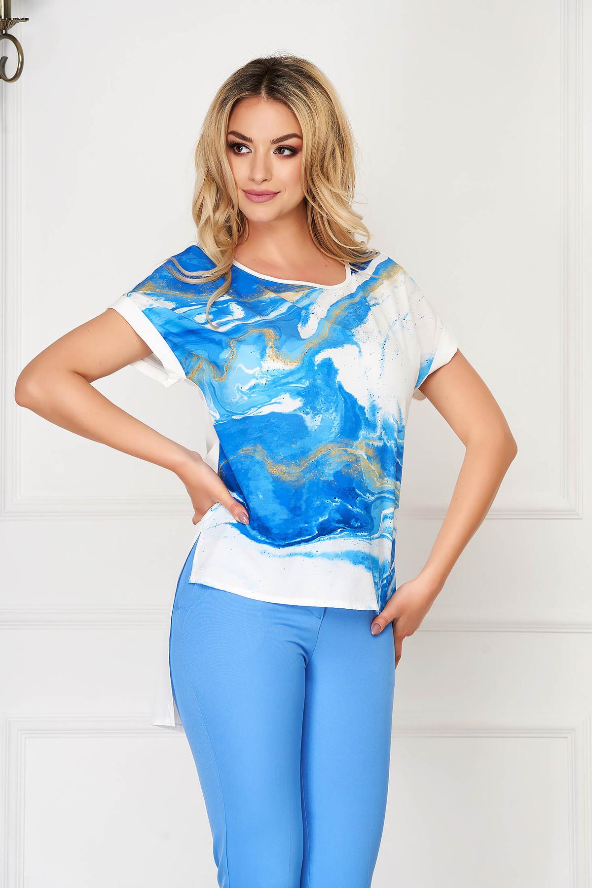 Bluza dama StarShinerS albastra eleganta asimetrica cu croi larg din voal