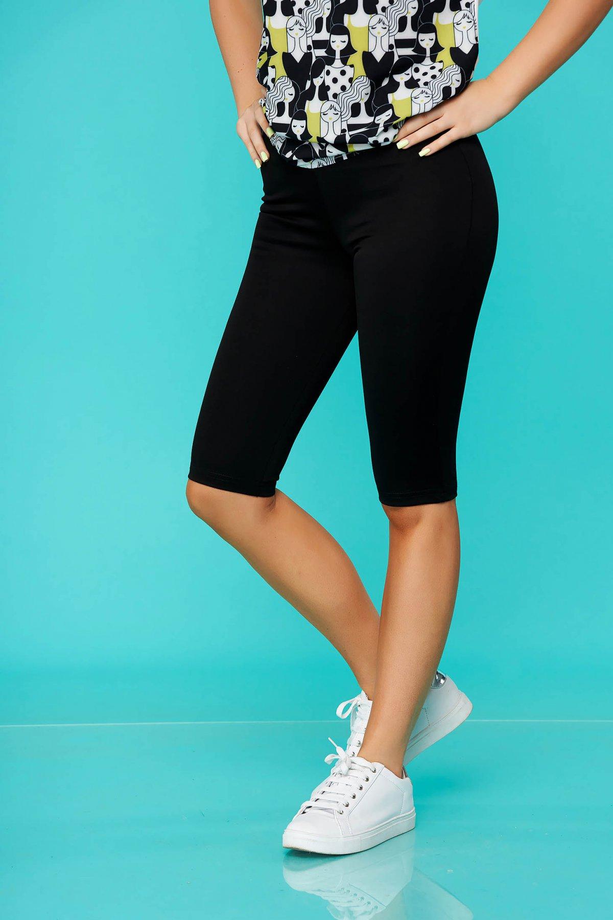 Colanti StarShinerS negru casual din jersey gros cu elastic in talie