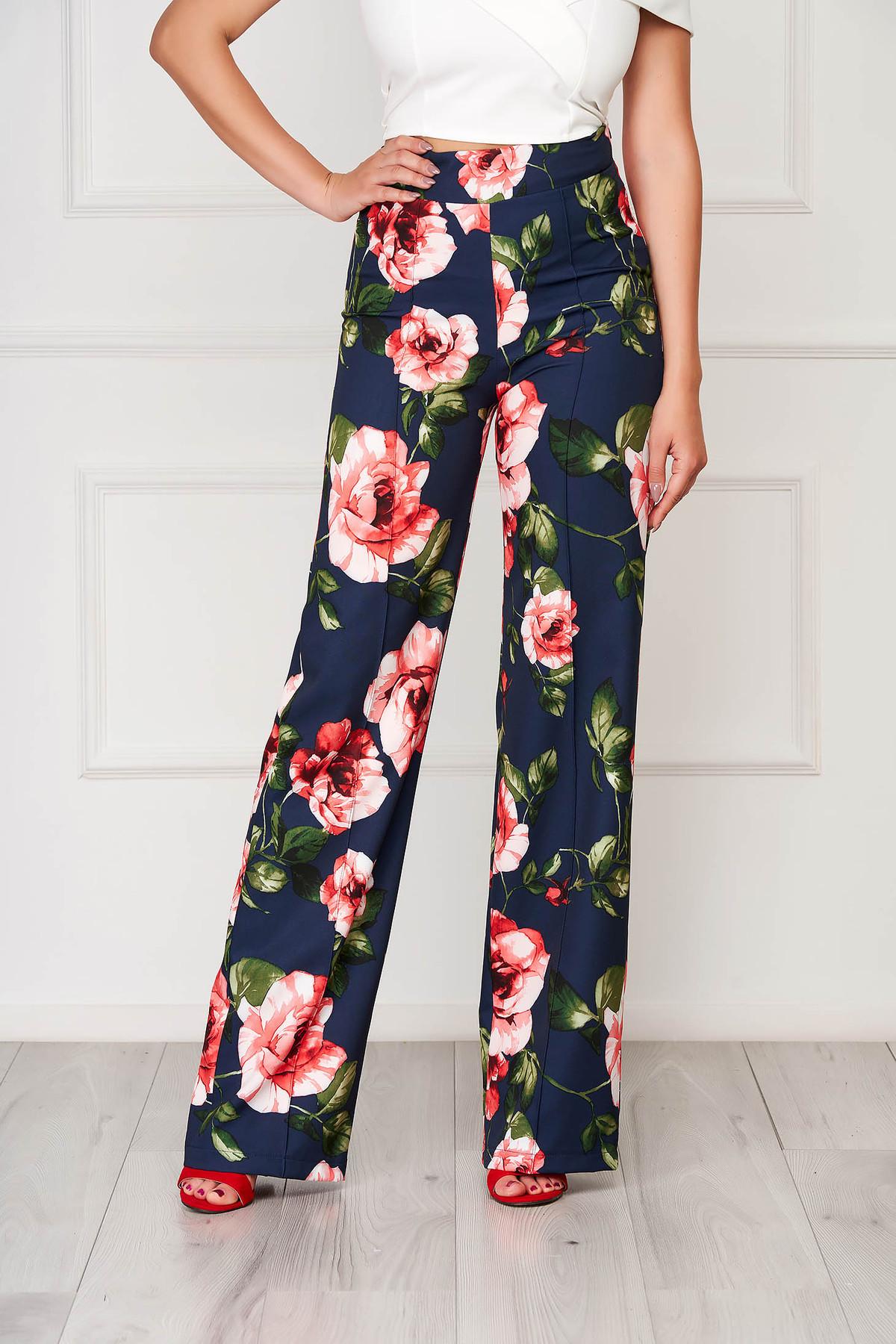 Pantaloni StarShinerS albastru-inchis eleganti evazati din stofa cu imprimeuri florale