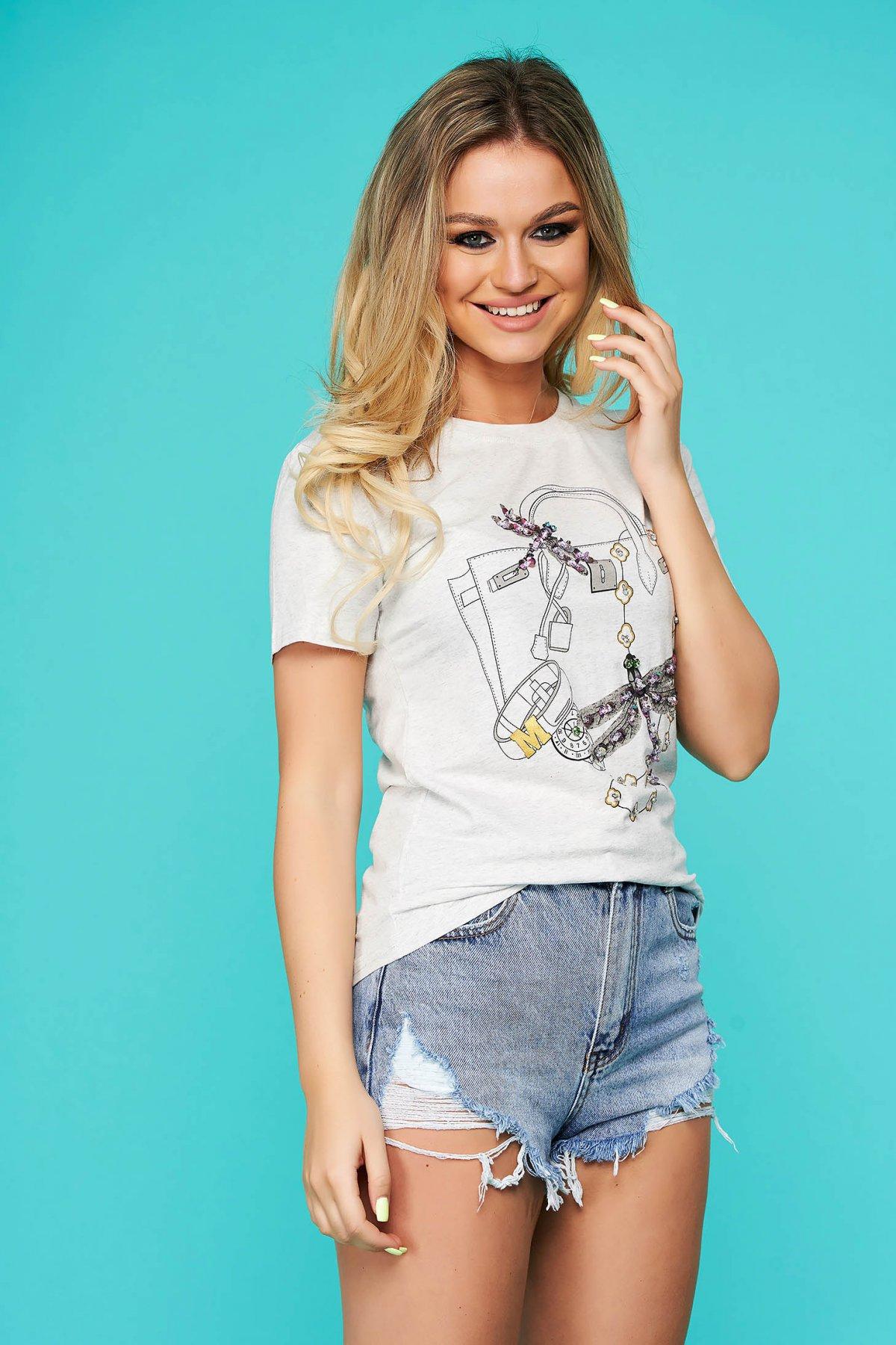 Tricou SunShine gri casual cu croi larg cu maneca scurta cu aplicatii cu paiete
