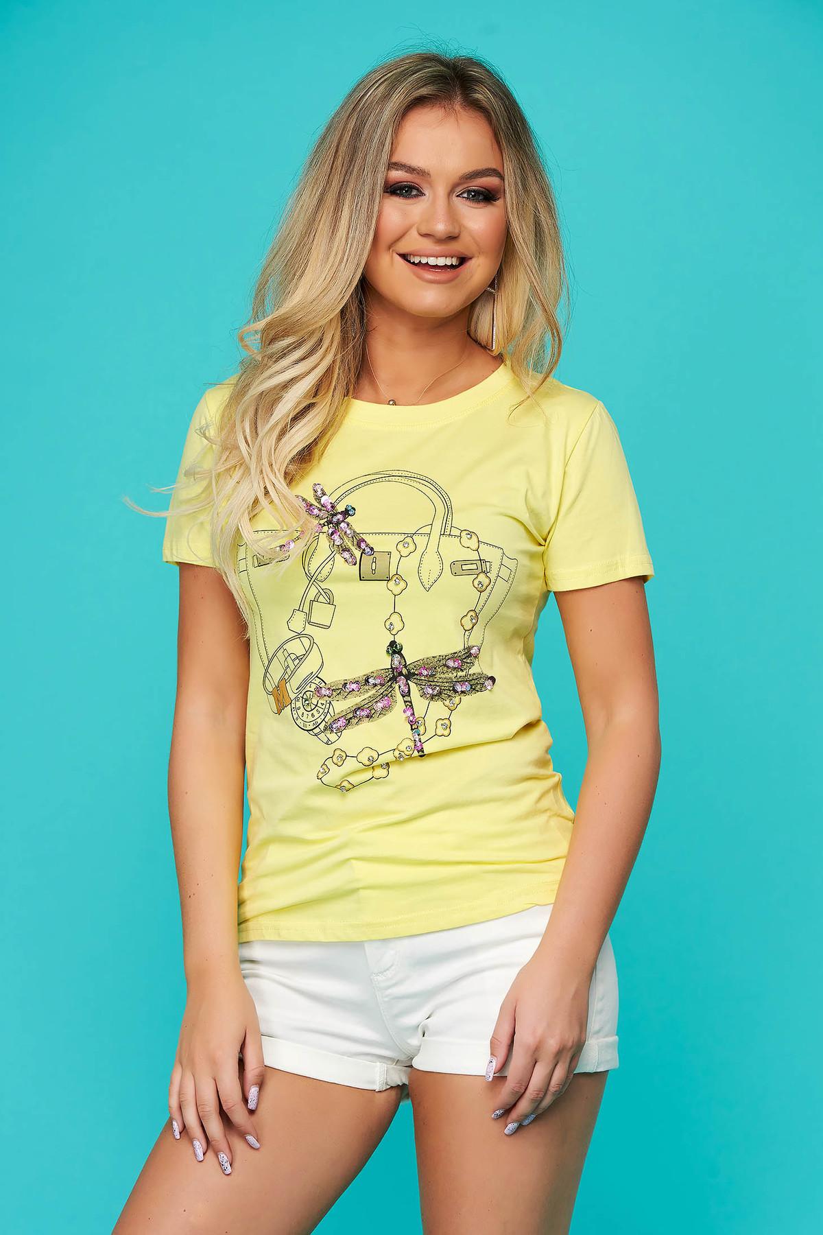 Tricou SunShine galben casual cu croi larg cu maneca scurta cu aplicatii cu paiete