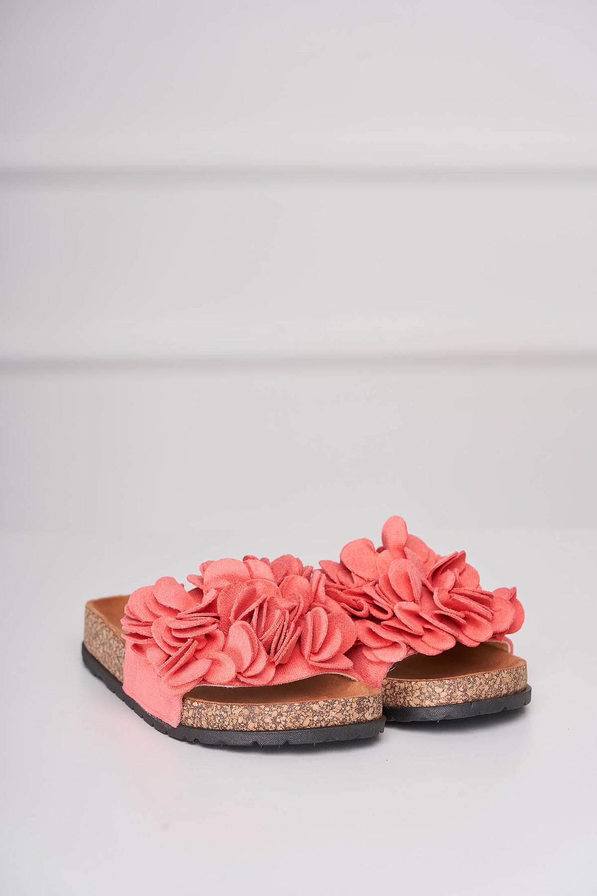Papuci corai casual din material catifelat cu talpa joasa imagine