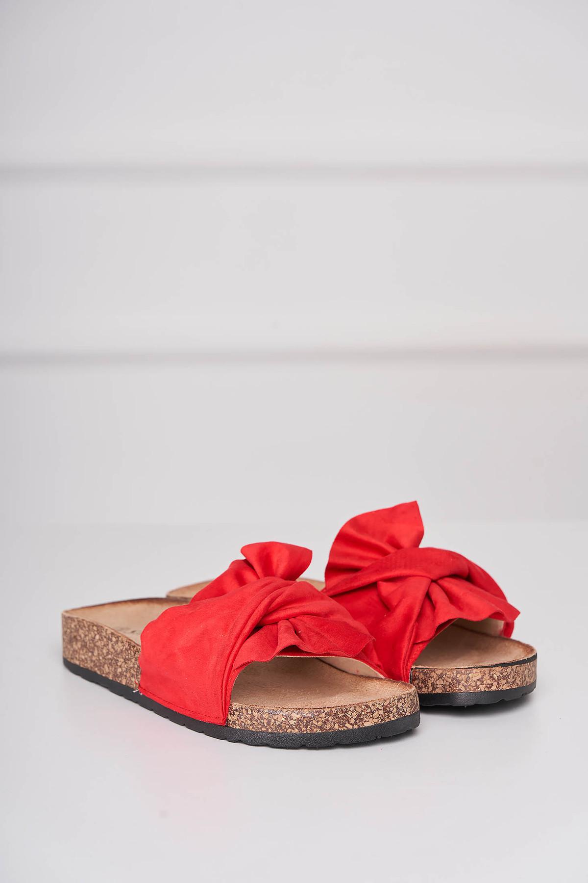 Papuci rosii casual din material catifelat cu talpa joasa imagine
