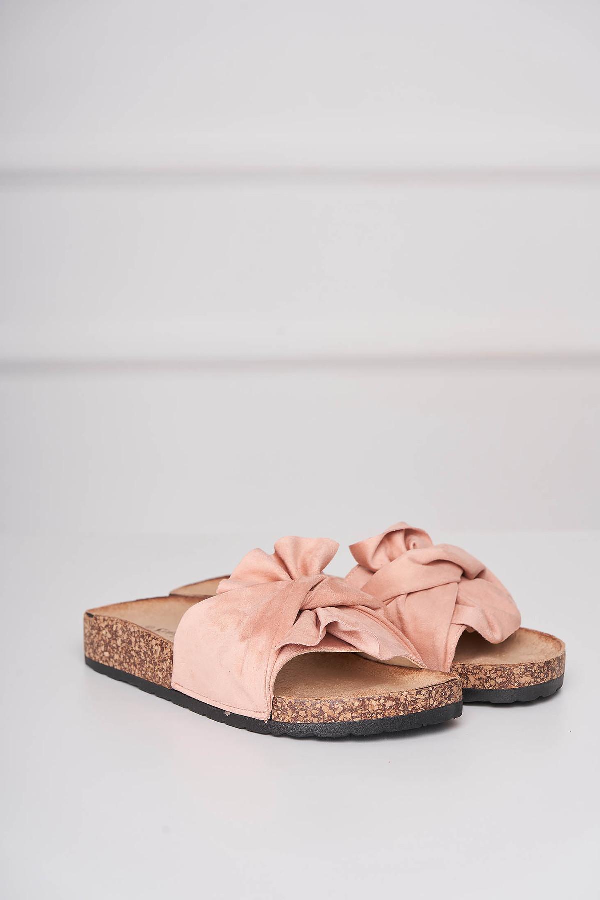 Papuci roz casual din material catifelat cu talpa joasa imagine