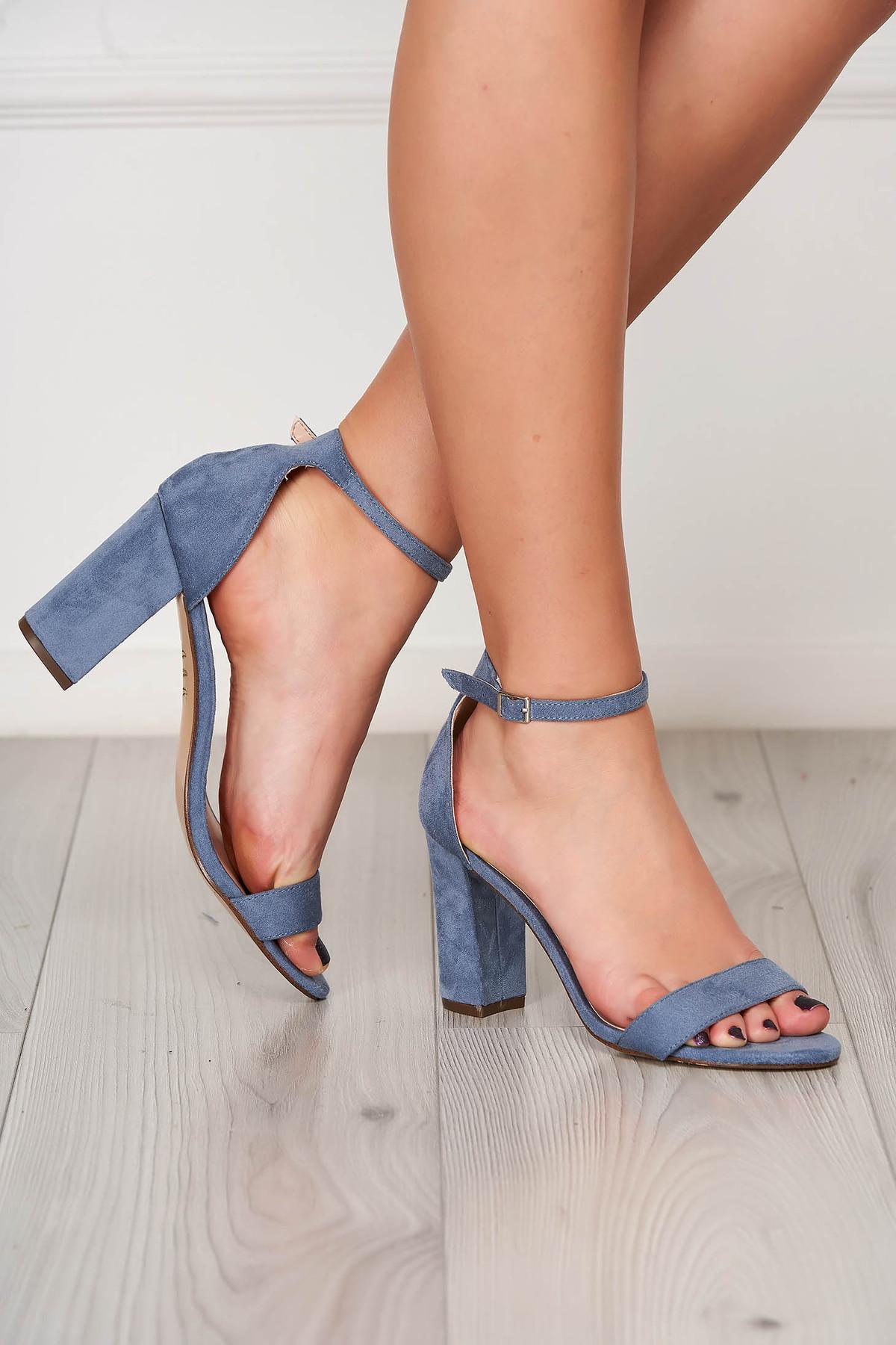 Sandale albastre elegante din material catifelat cu toc gros