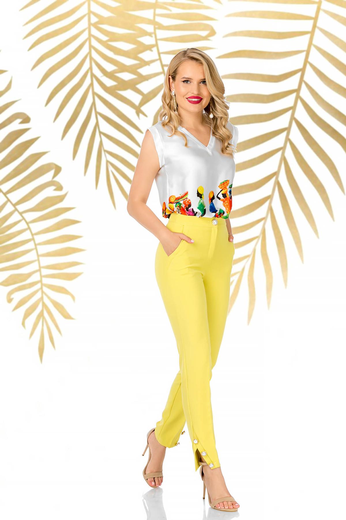 Pantaloni PrettyGirl galbeni eleganti conici din material usor elastic cu talie inalta imagine