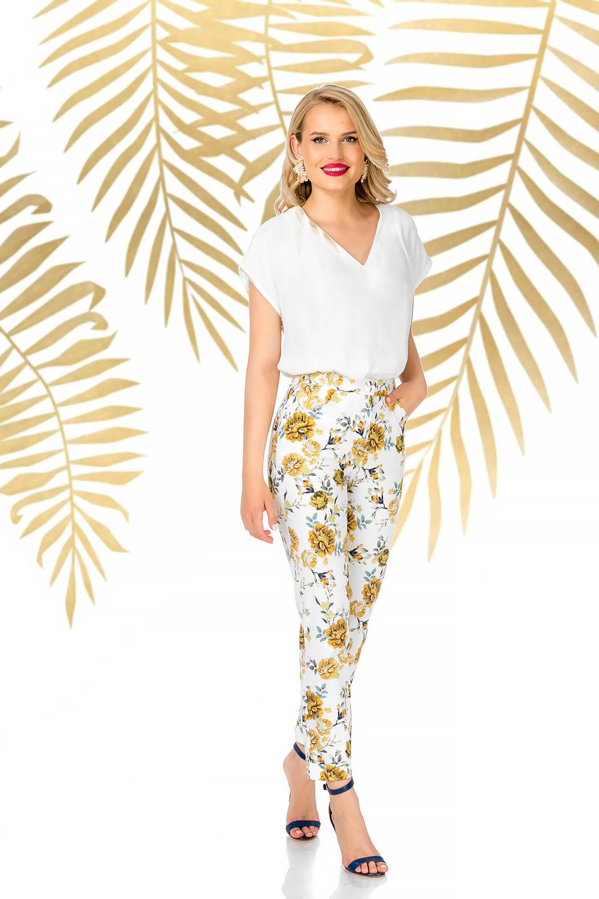 Pantaloni PrettyGirl albi eleganti conici cu talie inalta si imprimeu floral