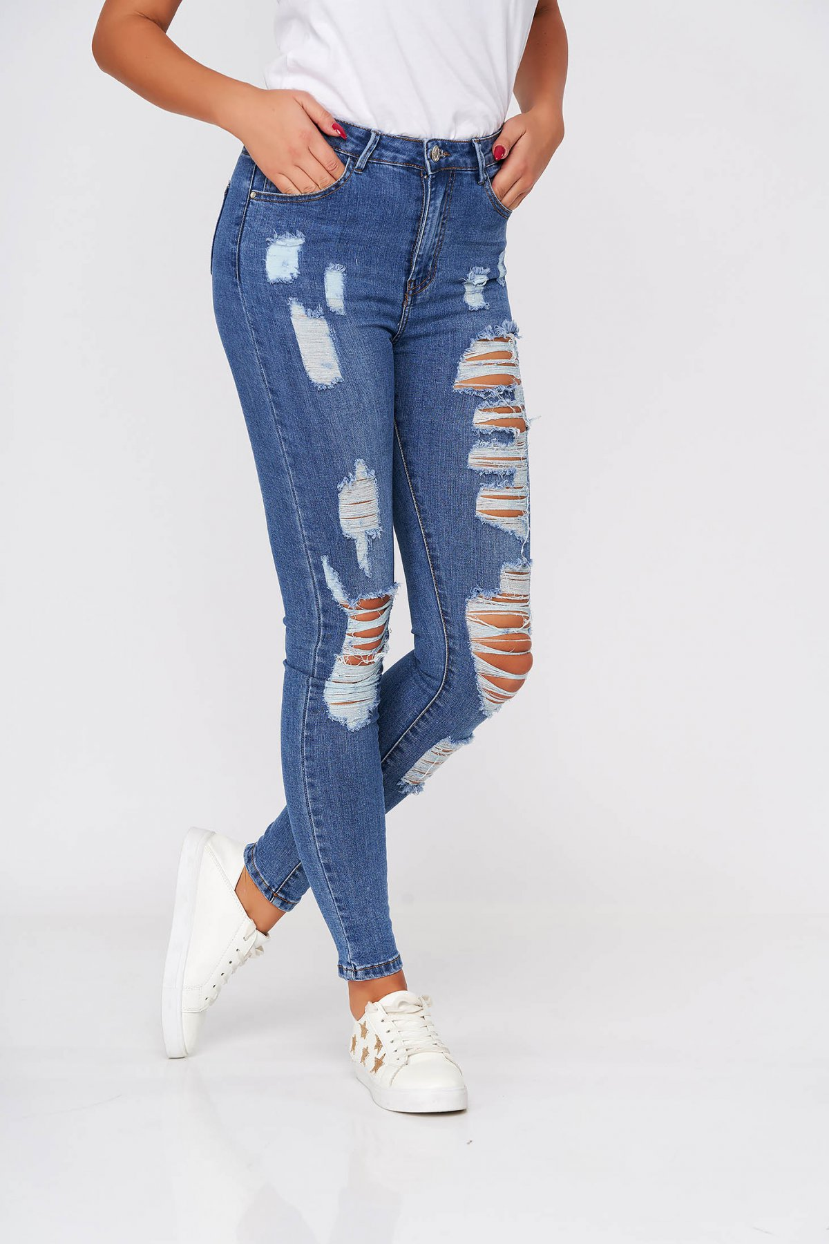 Poza Blugi SunShine albastri casual skinny cu talie inalta din bumbac elastic