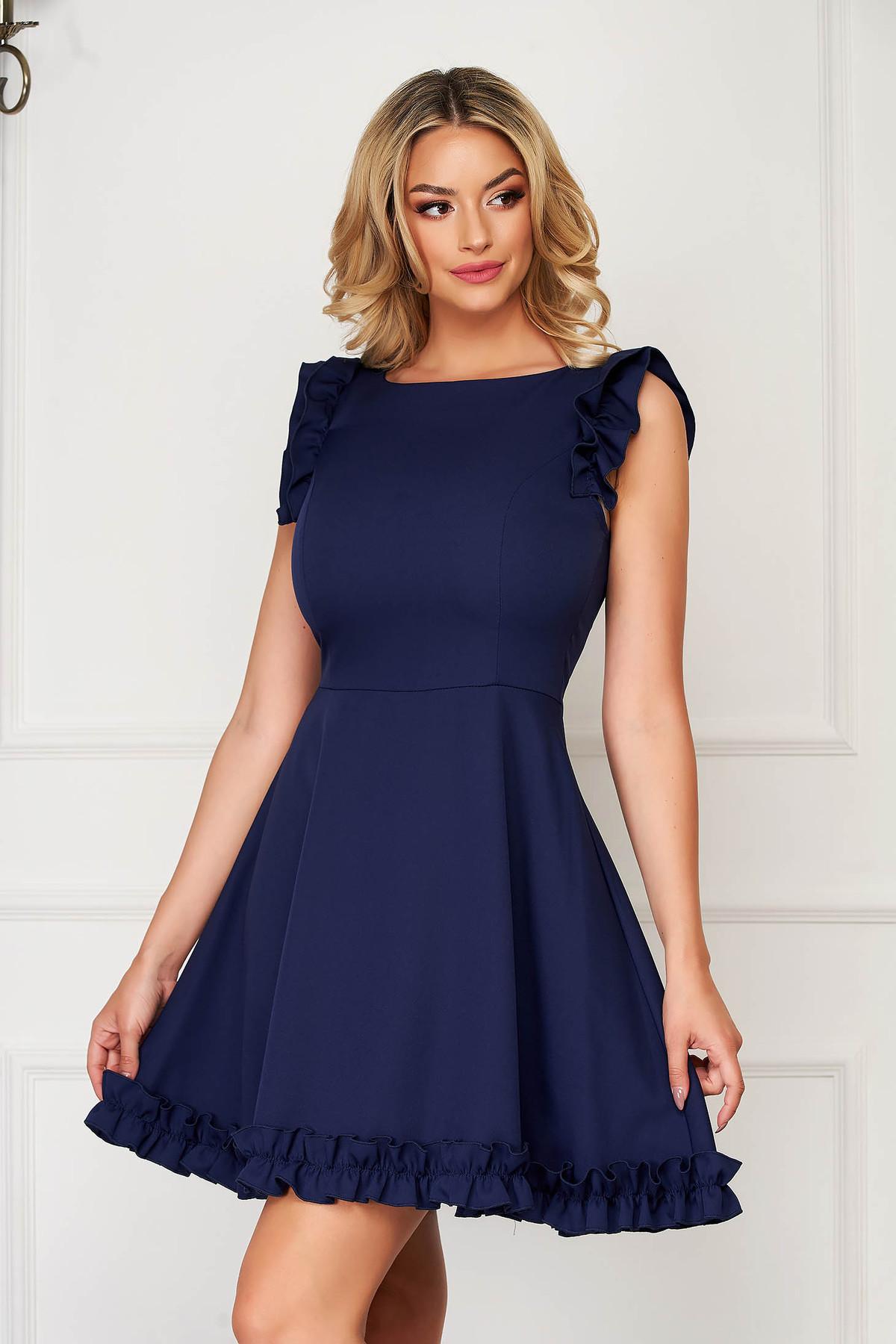 Rochie albastru-inchis eleganta scurta din stofa cu volanase la maneca