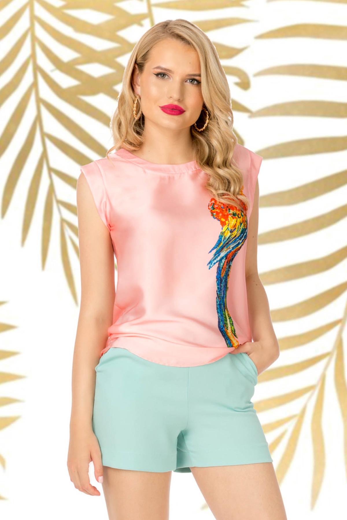 Top PrettyGirl roz prafuit casual cu croi larg material subtire cu imprimeuri grafice imagine
